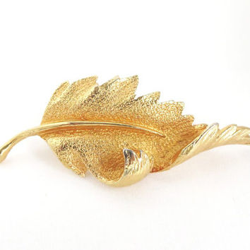 Vintage Coro Leaf Brooch Gold Tone Pin, Christmas Gift For Her
