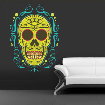Full Color Wall Decal Mural Sticker Decor Art Beautyfull Cute Sugar Skull Bedroom Curly modern fashion (col245)