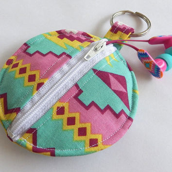 Tribal Earbud Holder / Aztec Coin Purse / Circle Pouch / Tribal Print / Aztec Inspired / Teal / Pink