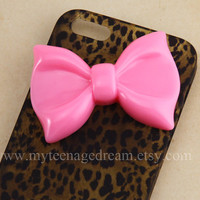 iphone 5 case, pink bow leopard iPhone 5 case, case for iPhone 5, cheetah iphone 5 hard case