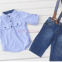 Boys Baby Striped Dress Shirt Top + Braces Jeans Pants 2pcs Tuxedo Outfits SV006244|26601 Children's Clothing