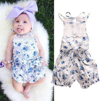 Rompers Flower 2016 New Newborn Infant Baby Girl Floral Casual Bow Lace Short Sleeve Cute Blue Jumpsuit Outfits Sunsuit Summer