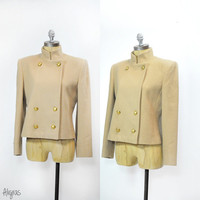 Vintage Double Breasted Short Coat • Camel Jacket • Stand Mandarin Collar • 80s Camel Coat • Short Jacket • Military Style • Gold Buttons