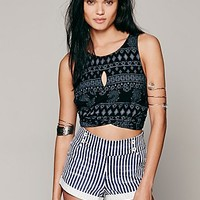 Free People Womens Geo Printed Wrap Tank - Carbon Combo,