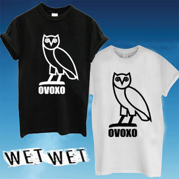 drake ovo owl t-shirt Printed Black and White Color Unisex Size - WW01