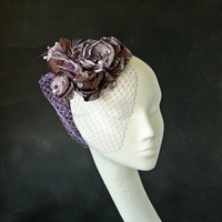 Fascinator, Lavender Hat, Flower Bridal Head Piece, Wedding Hair Flower Crown, Cocktail Hat, Races Hat, OOAK