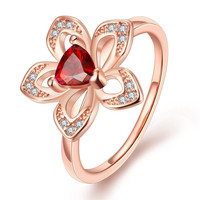 Rose Gold Plated Petite Ruby Clover Stud Ring