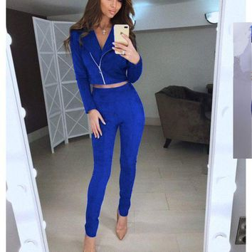 CREYONFI TAOVK women Suede Leather 2 Piece Set Sexy V-neck long sleeve Top And pants Slim two pieces set tracksuit