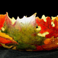 Autumn Dance Fall Leaf Gourd Bowl by GourdsInCostume on Etsy