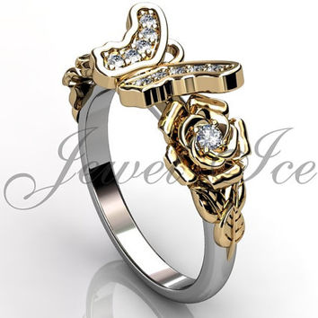 Butterfly Engagement Ring - 14k white and yellow gold diamond unique butterfly engagement ring, wedding ring, anniversary ring ER-1118-4