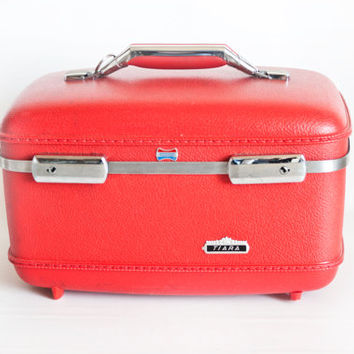 "Vintage American Tourister ""Tiara"" Red Train Case, Mid Century Carry On Luggage Travel Bag, Home Staging Prop"