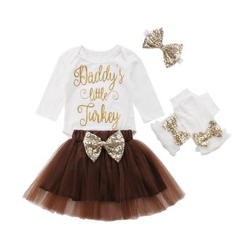 4PCS Set Baby Girl Bodysuit 1st Thanksgiving Tutu Skirts Outfits Clothes o-24M All Seasons Long Sleeve Babies Clothing