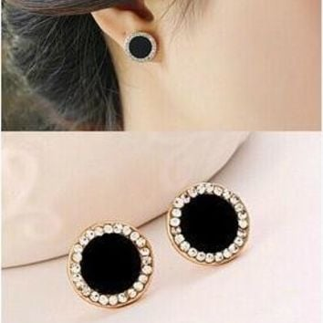 [Crazy Fashion vintage gold plated black earrings Elegant rhinestone crystal stud earrings for women jewelry accessories (Color: Black) = 5978985921