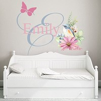 Animal Personalized Name Wall Decal Flowers Full Color Mural for Nursery Girls Name Colorful Vinyl Sticker SD4