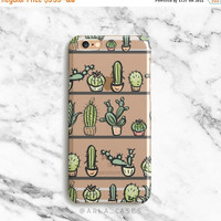 SALE Succulent Phone Case, Cactus Phone Case, Clear iPhone Case with Design, iPhone 7 Case, iPhone 6 Case, S7 Case, Samsung Galaxy S6 Case
