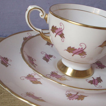 Antique Tuscan pink tea cup and saucer plate set trio, English tea set, pink china tea cup, pink and gold bone china tea cup