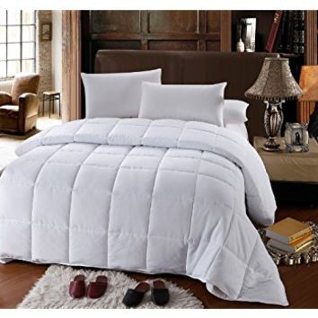 LUXURIOUS 1200 Thread Count TWIN / TWIN EXTRA LONG (XL) Size Goose Down Alternative Comforter SOLID WHITE, 100% Egyptian Cotton 750FP, 50Oz