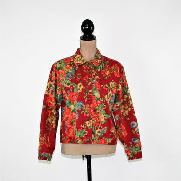 Red Floral Jacket Women Cotton Jacket Boho Jacket Spring Jacket Small Medium Boho Clothing Susan Bristol Vintage Clothing Womens Clothing