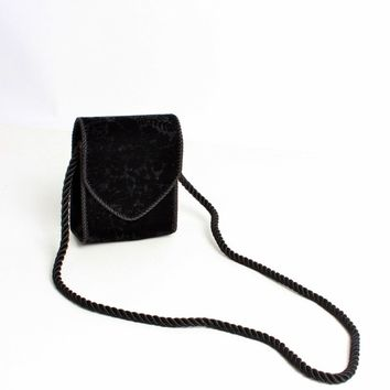Black Velvet Floral Burnout Purse