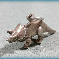 Vintage Sterling Silver Charm Dinosaur Triceratops Age of the Dinosaurs Fun Bracelet Charm or Necklace Pendant Fun Gift