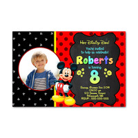 Hot Diggity Mickey Mouse Kids Birthday Invitation Party Design