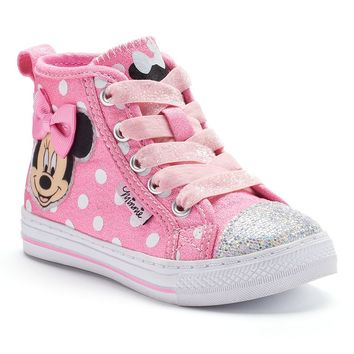 Disney's Minnie Mouse Toddler Girls' Glitter High-Top Sneakers (Pink)