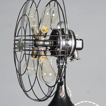 Vintage fan lamp. Ge Steampunk Lamp with Edison bulbs, quality components and accessories. Flat black with silver and bronze accents