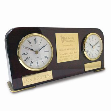 Dual Time Two Time Zone Wood Desk Award Clock - Engravable Gift Item