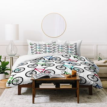 Andi Bird Ride A Bike White Duvet Cover