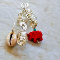 Loc Jewelry 3pc Silver Wire Set , Cowrie Shell Loc Adornment Set, Red Elephant Loc Jewelry Set