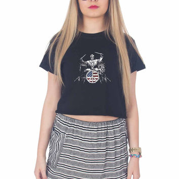 Abraham Lincoln Drum For Womens Crop Shirt **