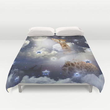 Shoot For The Moon (Giraffe In The Clouds) Duvet Cover by soaring anchor designs ⚓ | Society6