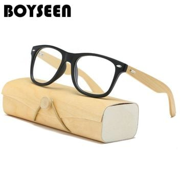 BOYSEEN Vintage Retro Rivet Eyeglasses Frame Men Women Bamboo Wooden Myopia Prescription Optic Glasses Frame With Clear Lens