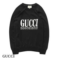 kuyou G004 Gucci Letter Round neck sweater Black