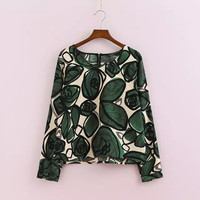 Women's Fashion Stylish Shirt Green Print Round-neck Pullover Blouse [6047800385]