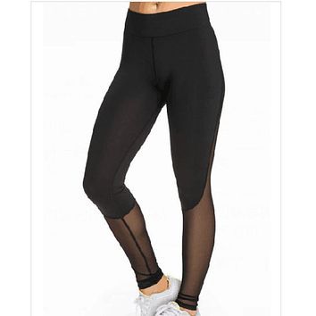 Sport style women leggings black mesh patchwork fitness sweatpants fashion slim women's clothing casual calzas deportivas mujer