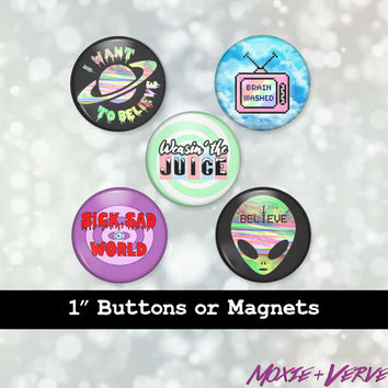 90s Buttons Set, 5pc Set, Pop Culture, Grunge, Pastel Goth, Available as Pinback Buttons, Flatback Buttons, or Magnet, 90s Magnets, 90s Pins