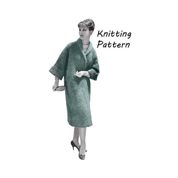 Woman's Long Wrap Mohair Coat Knitting Pattern Size 12- 16 ||Bust 32-36in/ 81-91cm ||Vintage 1960's Reproduction Printed Pattern 1105-TC52