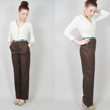 VINTAGE 70s cocoa brown wool tailored ultra high waist slim tall supermodel length cigarette pants trousers
