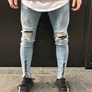 Mens Skinny Stretch Denim Designer Distress Ripped Repair Stylish Jeans Fashion Patchwork Leather Pleated Vintage Trousers