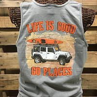 Southern Chics Life is Good Go Places Jeep Comfort Colors Bright Tank Top Shirt