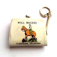 Vintage Will Rogers Coin Purse Keychain Souvenir Memorial Claremore Oklahoma OK Made in Japan Vinyl Pouch Key Chain Ring Cowboy