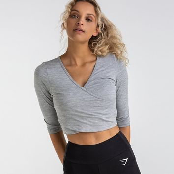Gymshark Ballet Crop Top - Light Grey Marl