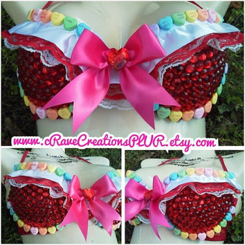 Custom Valentines Day Bra Candy Hearts Pink Bow Custom Lingerie Red Rhinestones Bling Lace Ribbon