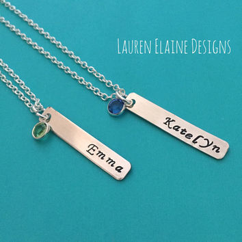 Customized Bar Necklace With Swarovski Birthstone- You Personalize with Name- Hand Stamped Aluminum Charm- You Choose Font