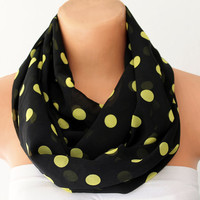 Polka Dots Lemon Yellow Black Chiffon Loop Infinity Scarf Soft and Lightweight