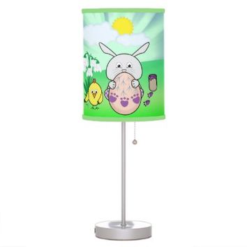 Cute Easter Bunny and chick Coloring Easter Egg desk lamp