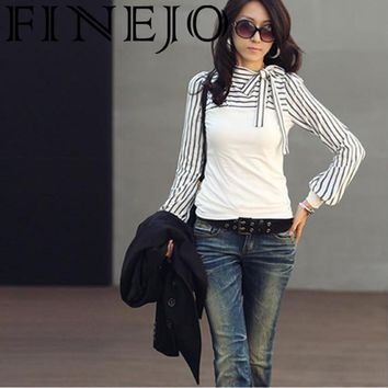 FINEJO Women T-Shirt Autumn 2018 Fashion New Neck Sleeve  Puff Long Cotton Casual Tshirts Stripes Tops Pullover Sexy Party