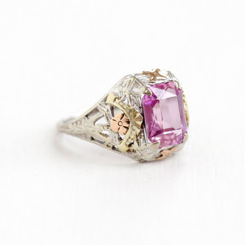 Antique 10k Gold Art Deco Created Pink Sapphire Ring - Size 4 Filigree 1920s 1930s Pink Emerald Cut Gemstone Tri-Tone Fine Jewelry