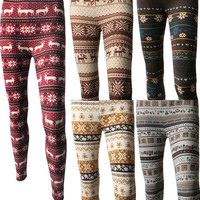 Women Winter Warm Fair Isle Nordic Reindeers Snowflakes Ankle Leggings Tights